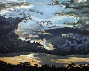 Crowley Sunset, <span class='en'>oil on canvas,</span> <span class='fr'>huile sur toile,</span> 24<span class='en'>in</span><span class='fr'>po</span> x 30<span class='en'>in</span><span class='fr'>po</span> (<span class='en'>SOLD</span><span class='fr'>VENDU</span>)
