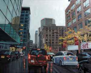 Avenue Viger Ouest, <span class='en'>oil on canvas,</span> <span class='fr'>huile sur toile,</span> 24<span class='en'>in</span><span class='fr'>po</span> x 30<span class='en'>in</span><span class='fr'>po</span> (<span class='en'>AVAILABLE</span><span class='fr'>DISPONIBLE</span>)