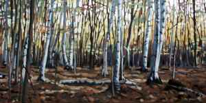 Angell Woods, <span class='en'>oil on canvas,</span> <span class='fr'>huile sur toile,</span> 18<span class='en'>in</span><span class='fr'>po</span> x 36<span class='en'>in</span><span class='fr'>po</span> (<span class='en'>SOLD</span><span class='fr'>VENDU</span>)