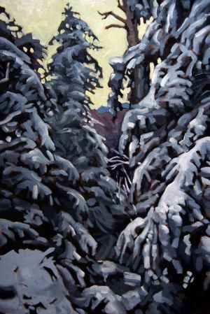 Sawteeth Mountain Pines, <span class='en'>oil on canvas,</span> <span class='fr'>huile sur toile,</span> 30<span class='en'>in</span><span class='fr'>po</span> x 20<span class='en'>in</span><span class='fr'>po</span> (<span class='en'>SOLD</span><span class='fr'>VENDU</span>)