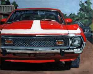 AMC Javelin, <span class='en'>oil on canvas,</span> <span class='fr'>huile sur toile,</span> 16<span class='en'>in</span><span class='fr'>po</span> x 20<span class='en'>in</span><span class='fr'>po</span> (<span class='en'>AVAILABLE</span><span class='fr'>DISPONIBLE</span>)