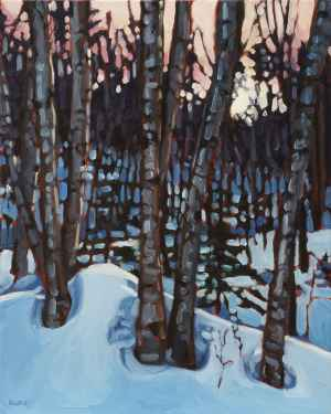 Winter Birches, <span class='en'>oil on canvas,</span> <span class='fr'>huile sur toile,</span> 20<span class='en'>in</span><span class='fr'>po</span> x 16<span class='en'>in</span><span class='fr'>po</span> (<span class='en'>SOLD</span><span class='fr'>VENDU</span>)