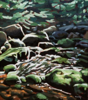Adirondack Brook, <span class='en'>oil on canvas,</span> <span class='fr'>huile sur toile,</span> 18<span class='en'>in</span><span class='fr'>po</span> x 16<span class='en'>in</span><span class='fr'>po</span> (<span class='en'>AVAILABLE</span><span class='fr'>DISPONIBLE</span>)